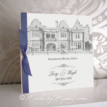 Inglewood House Pocketfold Wedding Invitation - Includes RSVP & Guest Information